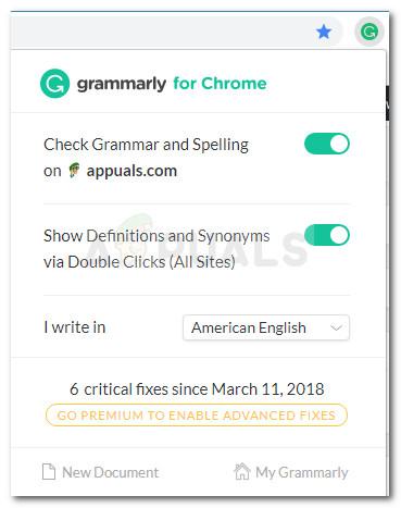 Grammatik Chrome Erweiterung