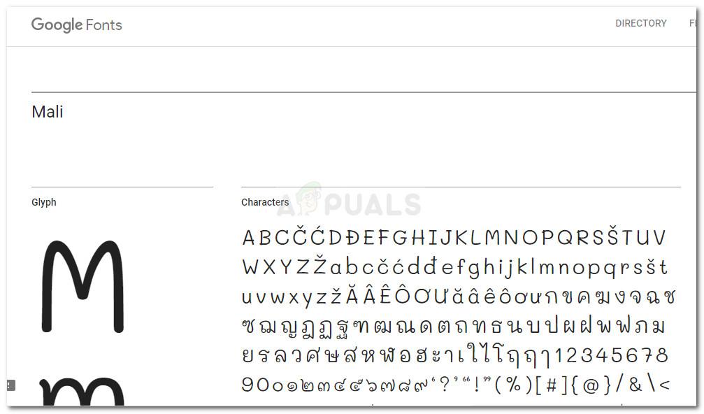 Beispiel für Google Font