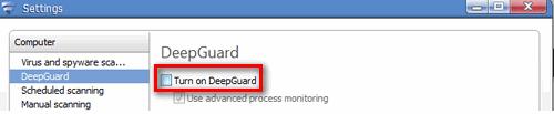 Deaktivieren der DeepGuard-Funktion