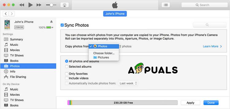 Restaurar desde fotos de iTunes