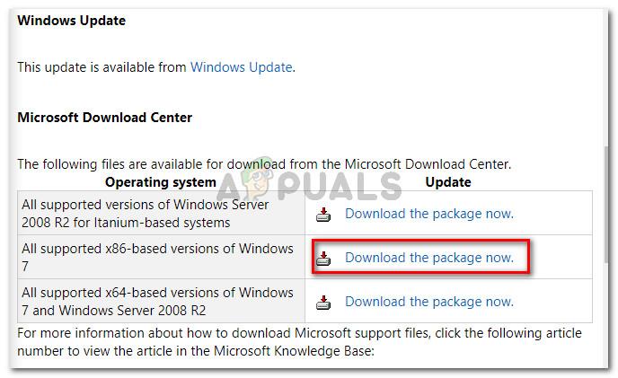 Descargando la revisión de Microsoft