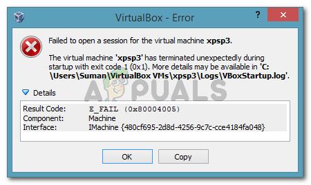 No se pudo abrir una sesión para la máquina virtual.  La máquina virtual ha terminado inesperadamente durante el inicio con el código de salida (0x1).