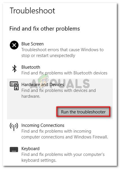 Klicken Sie auf Hardware und Geräte und dann auf Problembehandlung ausführen