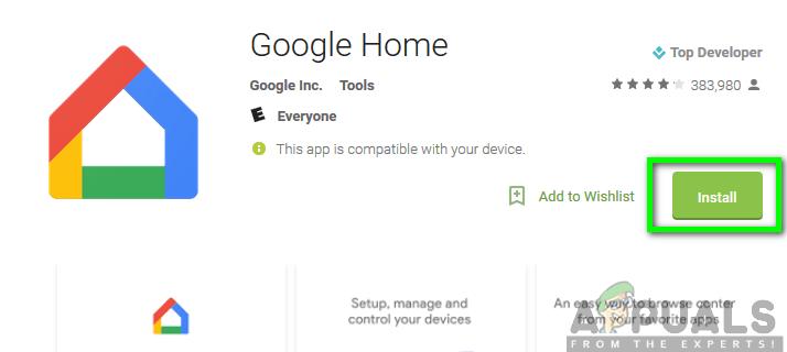Installieren der Google Home-App