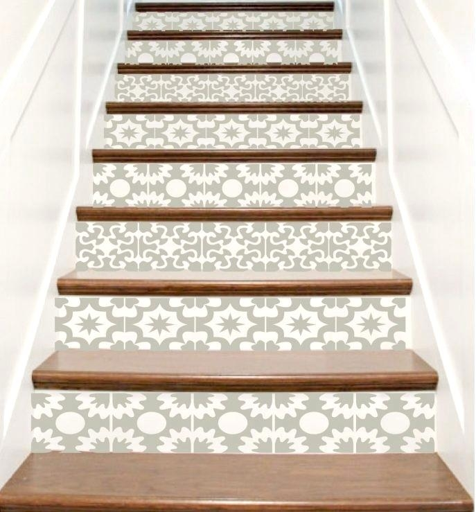 19 Insanely Cool Diy Staircase Makeover Designs To Consider | Wood Stairs With Tile Risers | Grey | Diy | Design | Mosaic | Stone