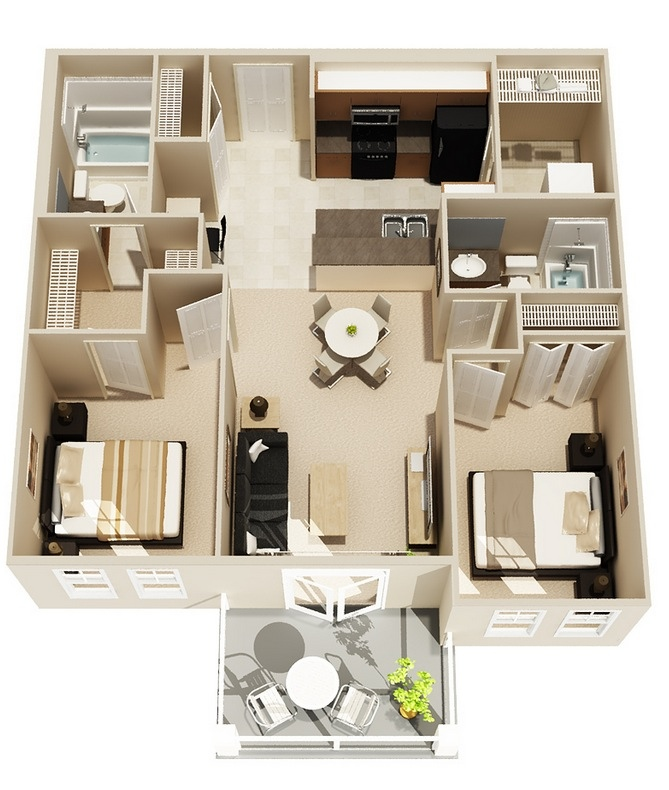 50 Two 2 Bedroom ApartmentHouse Plans Architecture
