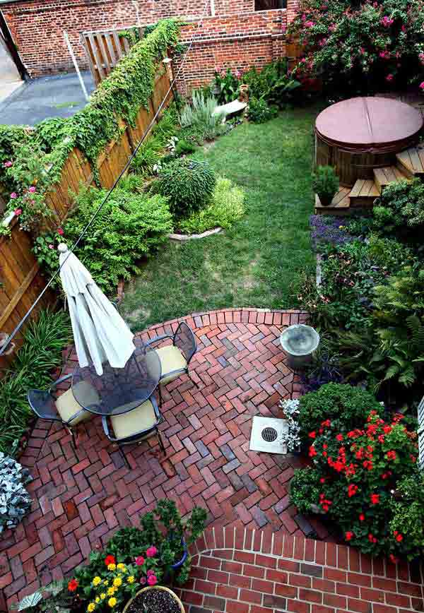 23 Small Backyard Ideas How to Make Them Look Spacious and ... on Patio And Grass Garden Ideas id=97376