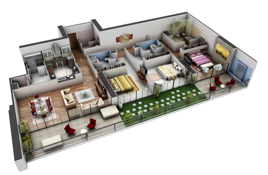 50 Three    3    Bedroom Apartment House Plans   Architecture   Design 3 spacious 3 bedroom house plans