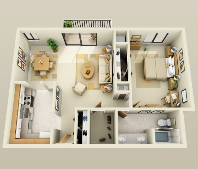 50 One    1    Bedroom Apartment House Plans   Architecture   Design 26 1 bedroom floor plans