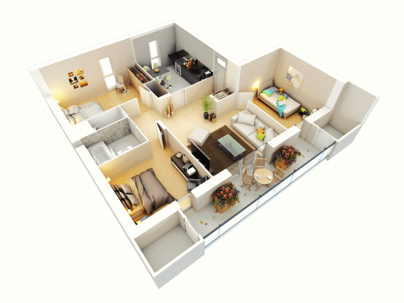 25 More 3 Bedroom 3D Floor Plans   Architecture   Design 11 3 bed ideas