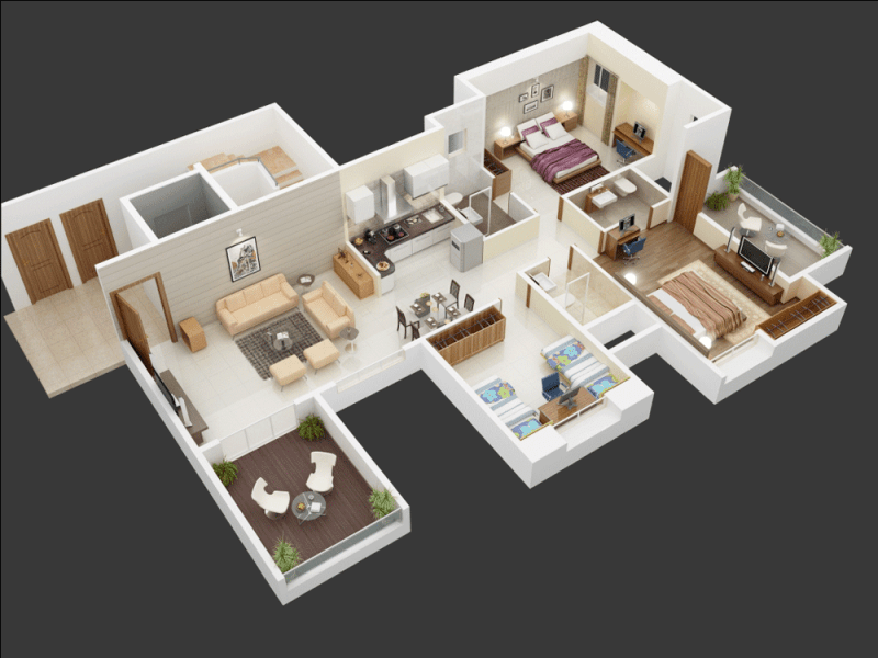 25 More 3 Bedroom 3D Floor Plans   Architecture   Design 21 big 3 bedrooms