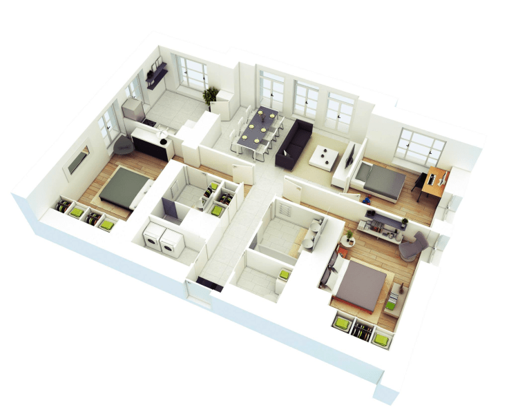25 More 3 Bedroom 3D Floor Plans   Architecture   Design 4 three bedroom home