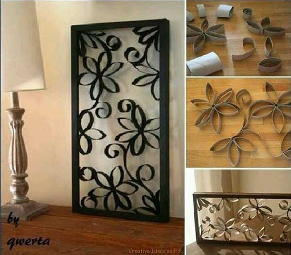Branches With Leaves On Dark Painted Wall Recycled Crafts Toilet Paper Rolls