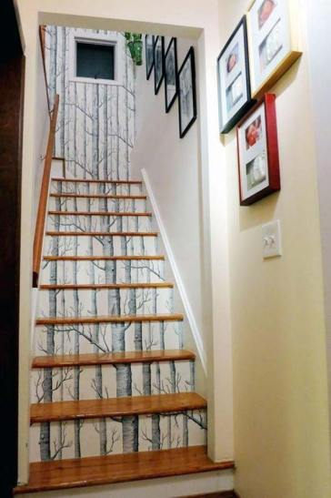 Image result for wallpapered stairs
