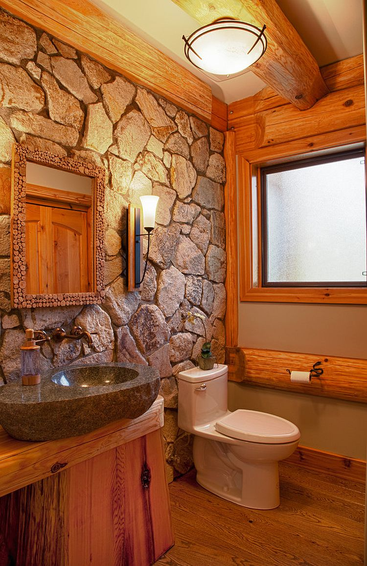 30 Exquisite & Inspired Bathrooms With Stone Walls on Rustic:s9Dkpzirpk8= Farmhouse Bathroom  id=35099