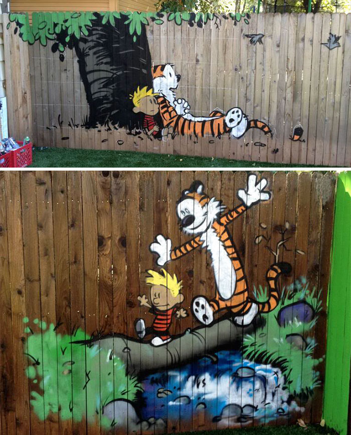 55+ People Who Took Their Backyard Fences To Another Level on Backyard Wall Decor Ideas  id=98621