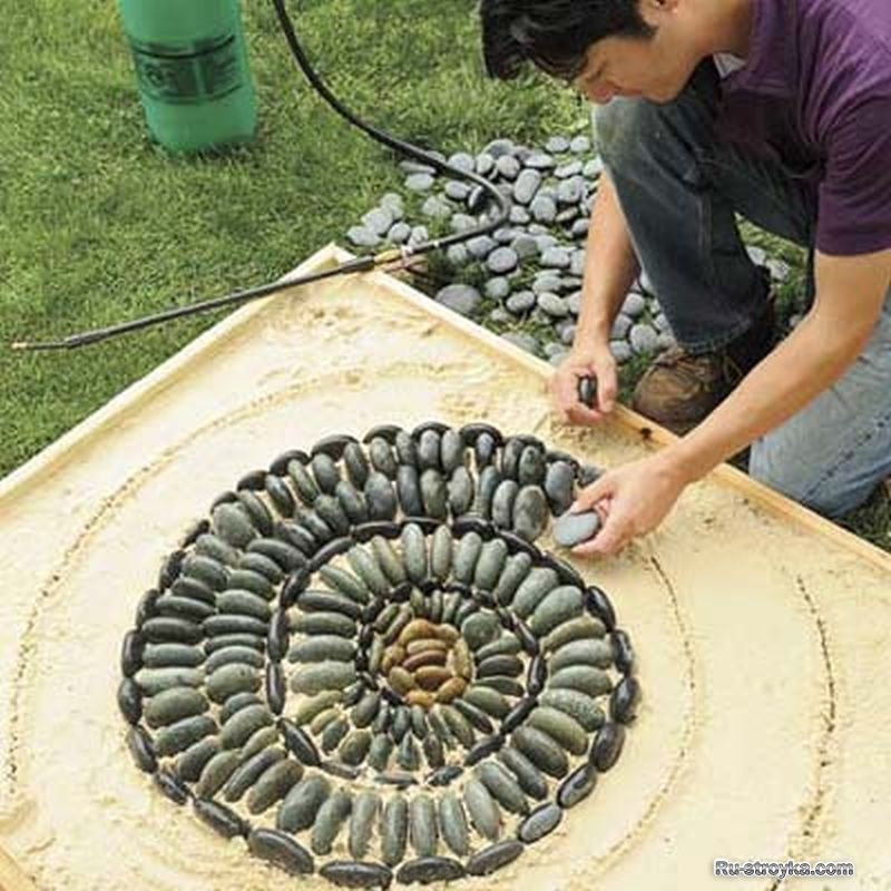 25+ Garden Pathway Pebble Mosaic Ideas For Your Home ... on Backyard Pebble Ideas id=39223