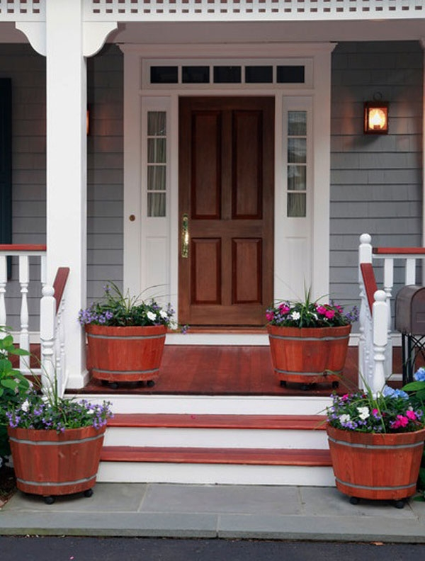 40 Front Door Flower Pots For A Good First Impression | Modern Front Door Steps | Entrance | Bungalow Entrance | Modern House | Contemporary | Garden Entrance