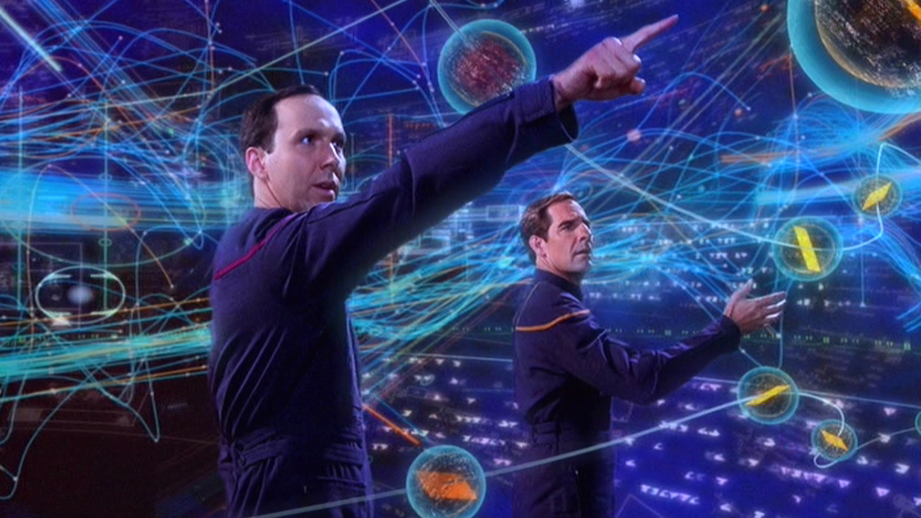 A time traveler from the future shows Captain Archer a holographic map of the various timelines, in his Temporal Observatory. <em>(Enterprise</em> gave fans a very uneasy feeling about the future.)