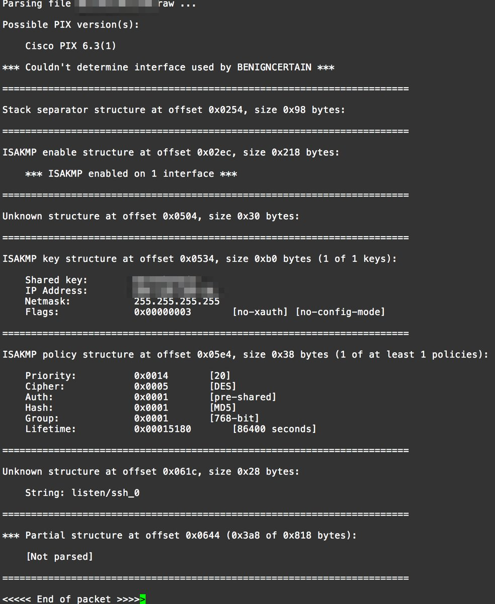 A screenshot of BenignCertain extracting a shared key from a Cisco PIX firewall.
