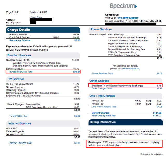 A Charter/TWC bill from Michael Song's lawsuit against Charter.
