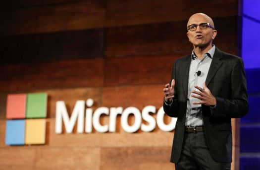 Satya Nadella, CEO of Microsoft, speaks at the Microsoft Annual Shareholders Meeting in Bellevue, Washington, on November 30, 2016.
