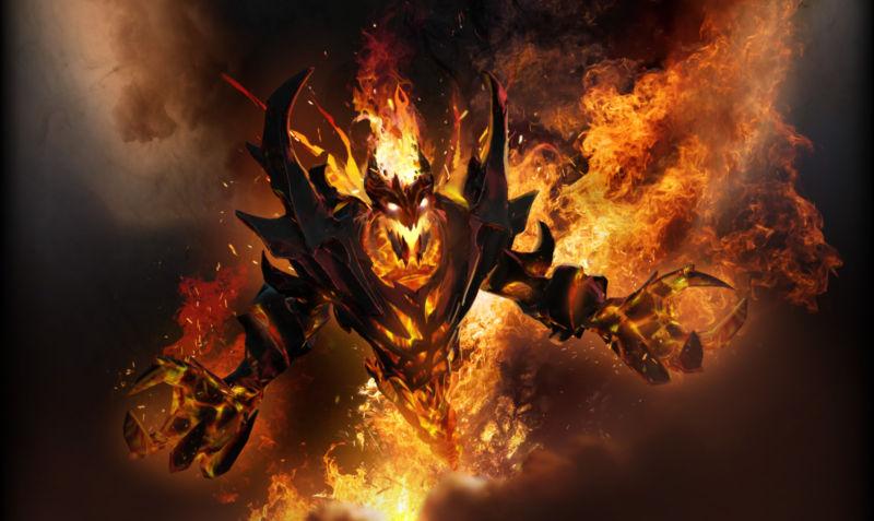 Screenshot of a fiery video game monster.