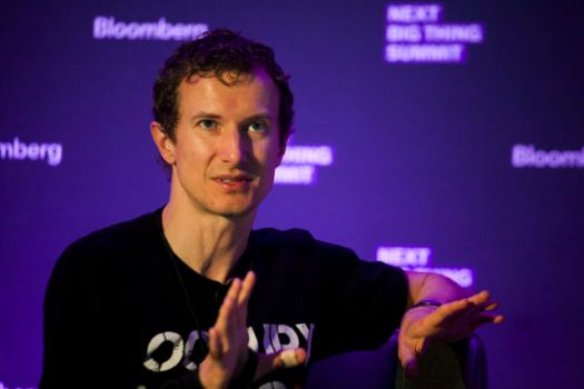 Luke Nosek speaks at the Bloomberg Next Big Thing Summit in 2013. His conference t-shirt game spoketo his fondness for a then-new partnership with SpaceX.
