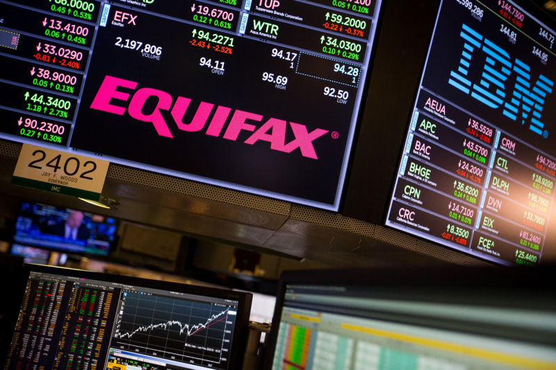 A monitor displays Equifax Inc. signage on the floor of the New York Stock Exchange (NYSE) in New York on Friday, September 15, 2017.