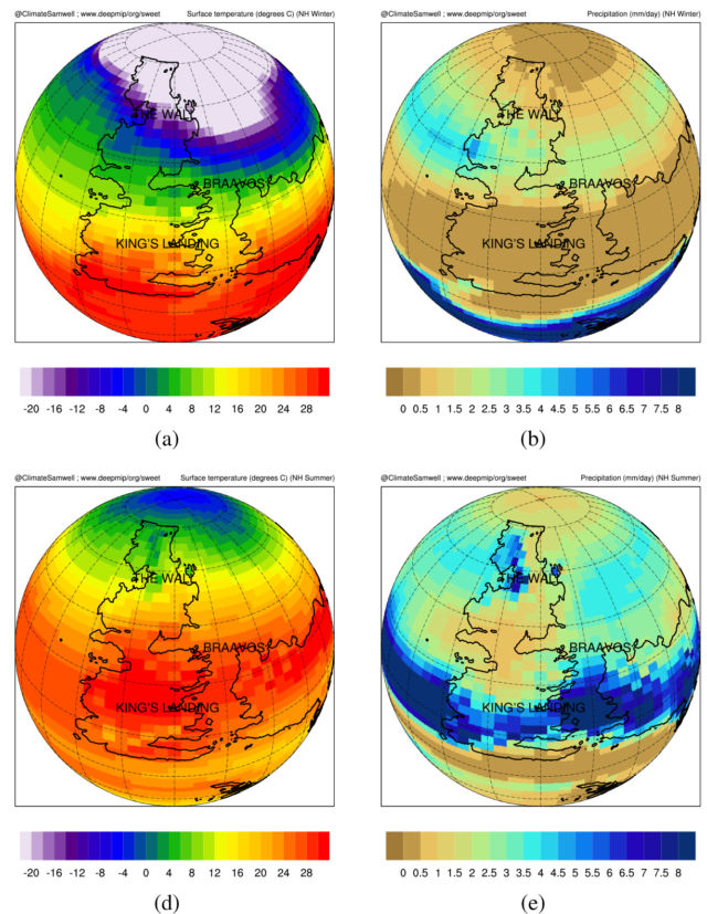 Model results for winter (top row) and summer (bottom row) showing temperature on the left and precipitation on the right.