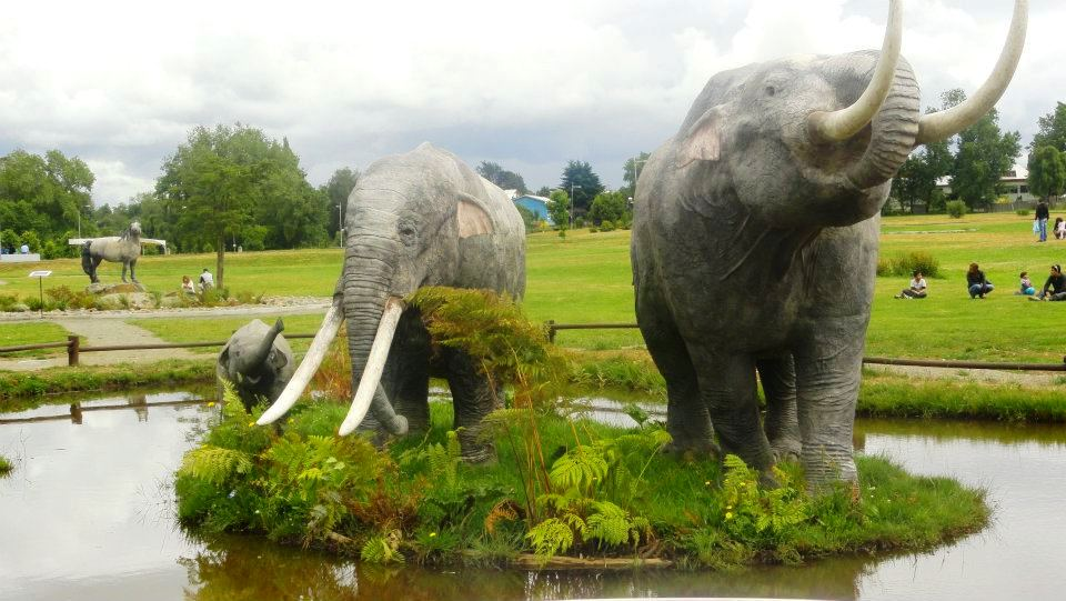 <em>Gomphotheres</em> look like elephants but aren't closely related. These models stand outside a museum in Chile.