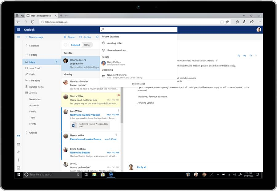 The smarter search in Outlook on the Web, showing useful results before any search terms have even been typed.
