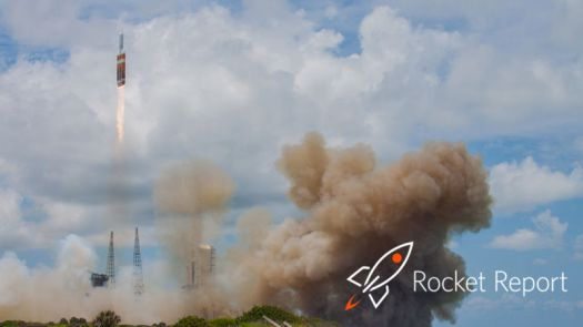 Cartoon rocket superimposed over real rocket launch.