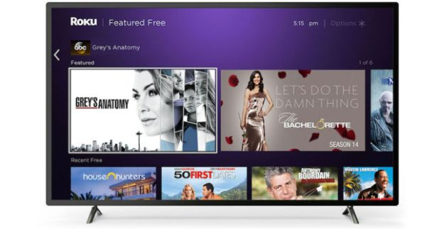 The Featured Free section of the Roku homepage on a Roku TV.