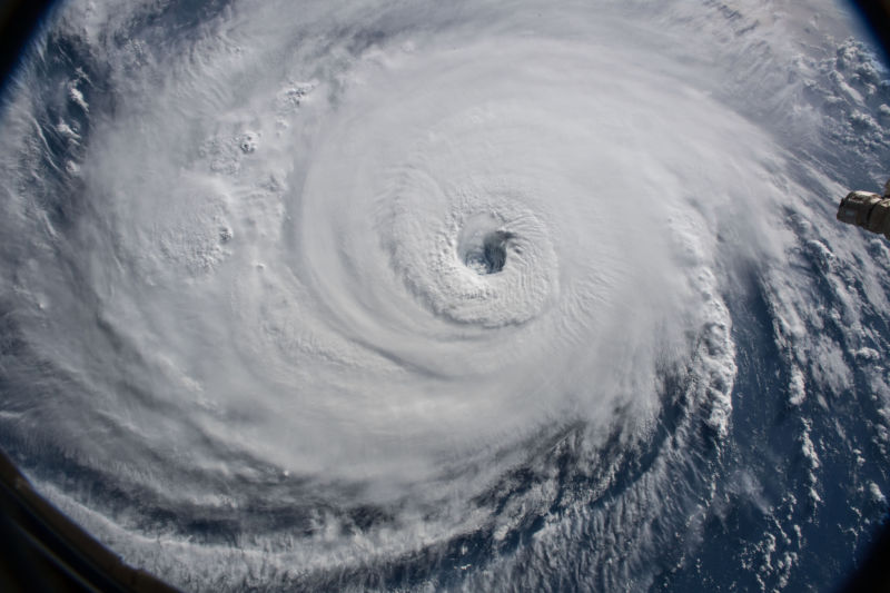 Satellite view of a hurricane.