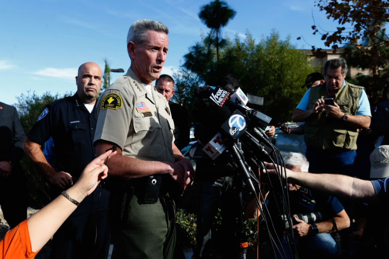 San Bernardino County Sheriff John McMahon speaks with the media regarding the shooting that occurred at the Inland Regional Center on December 2, 2015 in San Bernardino, California.