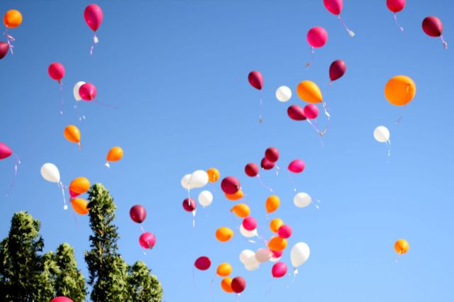 Helium-filled balloons.