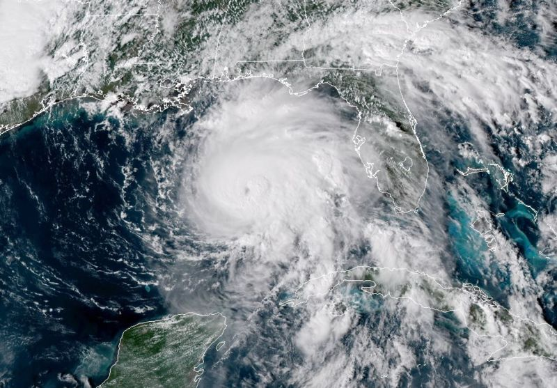 Satellite view of Hurricane over the Atlantic Ocean and Gulf of Mexico.