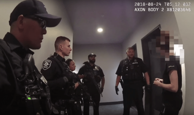 Body-cam video taken from an apparent Seattle police response to a hoax hostage-situation report.