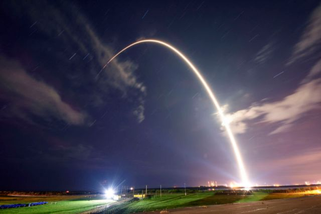 A Falcon 9 rocket launches in September 2018.