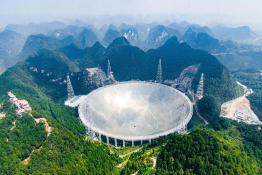 The 500-meter Aperture Spherical Telescope, in southwest China's Guizhou Province, is the world's largest radio telescope, measuring 500 meters in diameter.