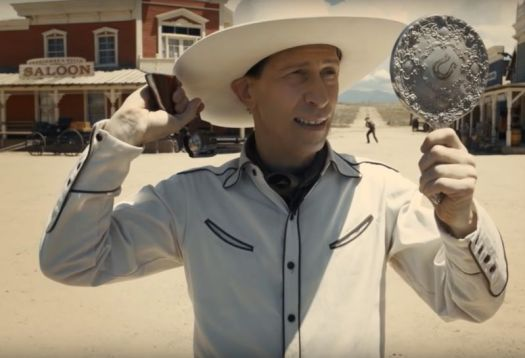 """""""Best not to play it too fancy"""": Sharp-shooting songster Buster Scruggs (Tim Blake Nelson) takes aim."""