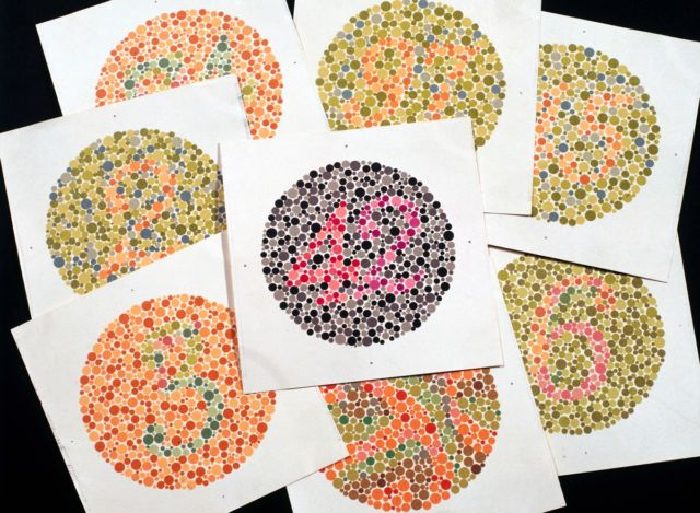 Eight classic Ishihara charts for testing colorblindness, circa 1959.