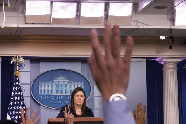 White House Press Secretary Sarah Huckabee Sanders conducts a news conference in August.