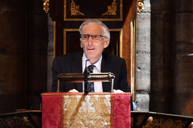 Astronomer Royal Lord Martin Rees speaks at Stephen Hawking's memorial service at Westminster Abbey on June 15, 2018 in London, England.