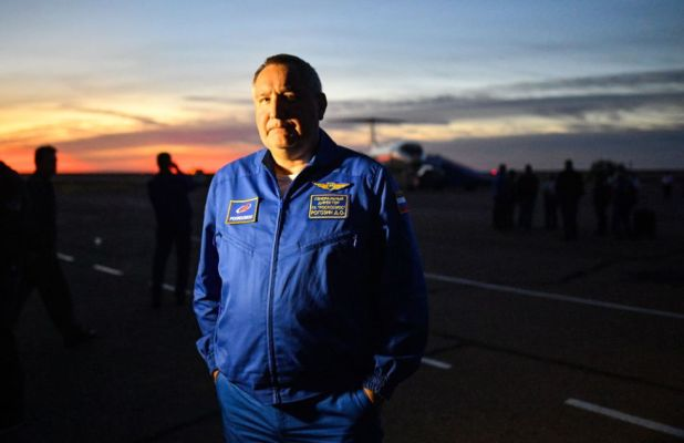 Roscosmos head Dmitry Rogozin is photographed in October 2018, after the launch failure of a Soyuz-FG rocket.