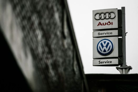 Audi and Volkswagen signs.
