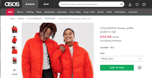 Meet the COLLUSION Unisex puffer jacket in red.