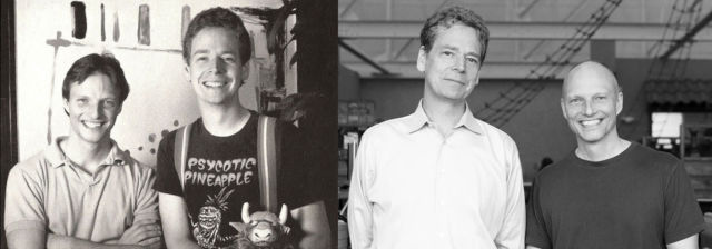 <em>Star Control</em> creators Fred Ford (shorter) and Paul Reiche III (taller).