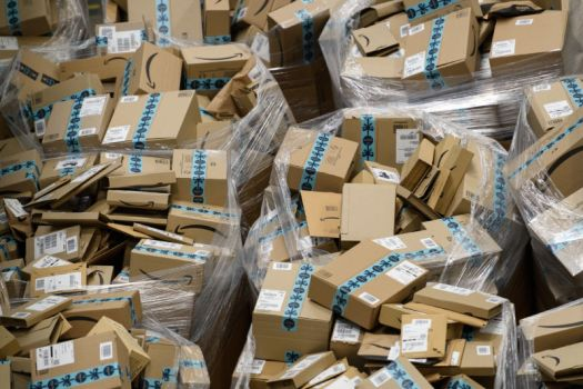 Amazon boxes in a warehouse.